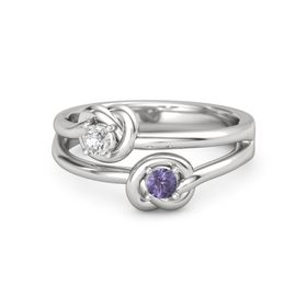 Sterling Silver Ring with Iolite & White Sapphire