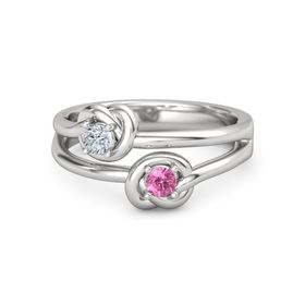 Sterling Silver Ring with Pink Tourmaline & Diamond