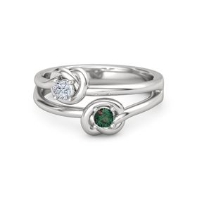 Sterling Silver Ring with Alexandrite and Diamond
