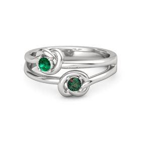 Sterling Silver Ring with Alexandrite & Emerald