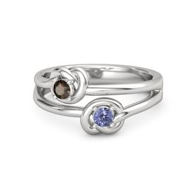 Sterling Silver Ring with Tanzanite & Smoky Quartz