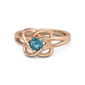 Round London Blue Topaz 14K Rose Gold Ring