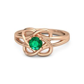 Round Emerald 14K Rose Gold Ring