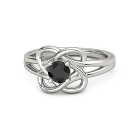 Round Black Diamond 14K White Gold Ring