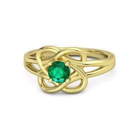 Round Emerald 14K Yellow Gold Ring