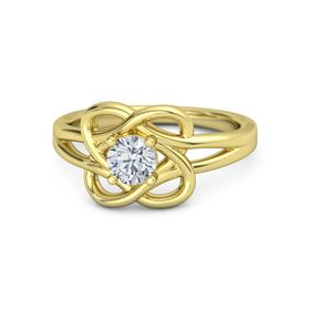 Round Moissanite 14K Yellow Gold Ring