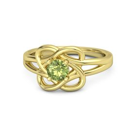 Round Peridot 14K Yellow Gold Ring