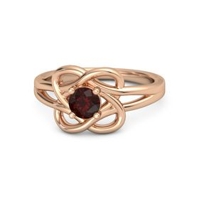 Round Red Garnet 18K Rose Gold Ring