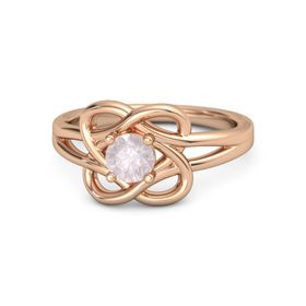 Round Rose Quartz 18K Rose Gold Ring