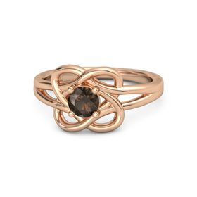 Round Smoky Quartz 18K Rose Gold Ring