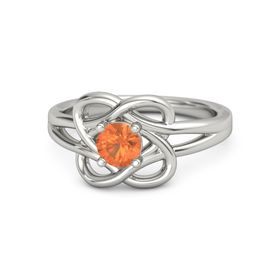 Round Fire Opal 18K White Gold Ring