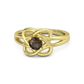 Round Smoky Quartz 18K Yellow Gold Ring