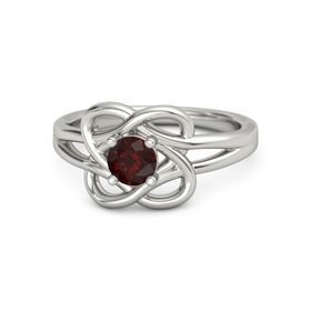 Round Red Garnet Palladium Ring