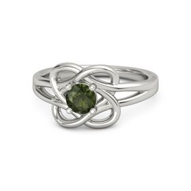 Round Green Tourmaline Platinum Ring