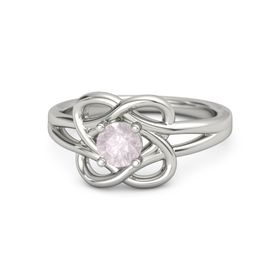 Round Rose Quartz Platinum Ring