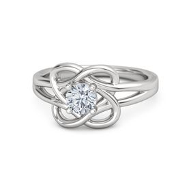 Round Diamond Sterling Silver Ring
