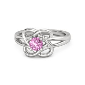 Round Pink Sapphire Sterling Silver Ring