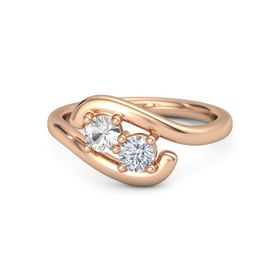 14K Rose Gold Ring with Rock Crystal and Moissanite