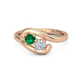 14K Rose Gold Ring with Emerald and Diamond