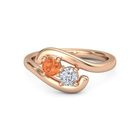 14K Rose Gold Ring with Fire Opal & Diamond