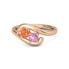14K Rose Gold Ring with Fire Opal and Pink Sapphire