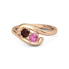 14K Rose Gold Ring with Red Garnet & Pink Tourmaline