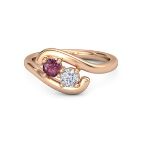 14K Rose Gold Ring with Rhodolite Garnet and Diamond
