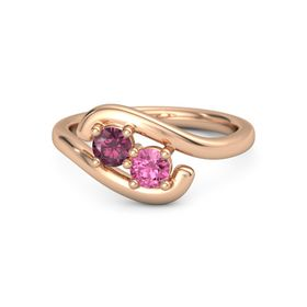 14K Rose Gold Ring with Rhodolite Garnet & Pink Tourmaline