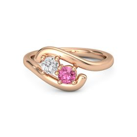 14K Rose Gold Ring with White Sapphire & Pink Tourmaline