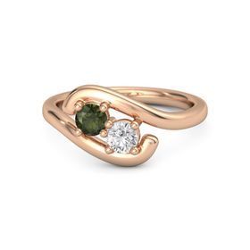 14K Rose Gold Ring with Green Tourmaline and White Sapphire