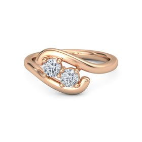 14K Rose Gold Ring with Moissanite