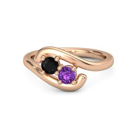 14K Rose Gold Ring with Black Onyx & Amethyst