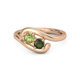 14K Rose Gold Ring with Peridot & Green Tourmaline