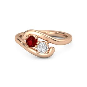 14K Rose Gold Ring with Ruby and White Sapphire