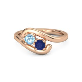 14K Rose Gold Ring with Blue Topaz and Blue Sapphire