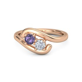 14K Rose Gold Ring with Iolite and Moissanite