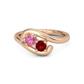 14K Rose Gold Ring with Pink Tourmaline and Ruby