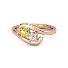 14K Rose Gold Ring with Yellow Sapphire and White Sapphire