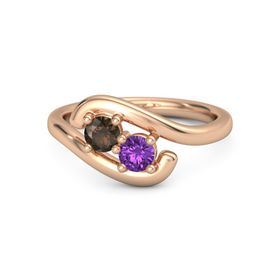 14K Rose Gold Ring with Smoky Quartz & Amethyst