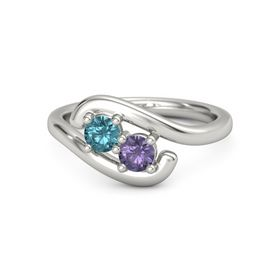 14K White Gold Ring with London Blue Topaz and Iolite