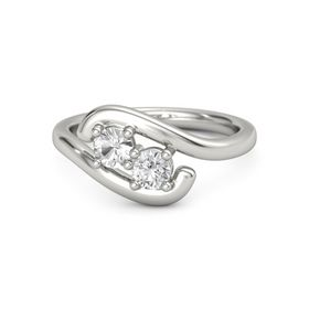14K White Gold Ring with Rock Crystal & White Sapphire