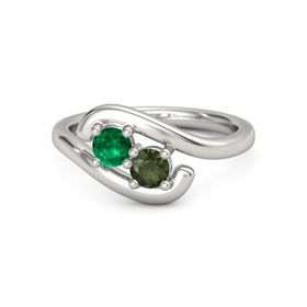 14K White Gold Ring with Emerald and Green Tourmaline
