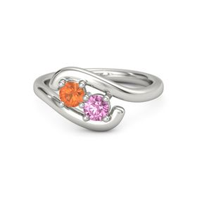 14K White Gold Ring with Fire Opal and Pink Sapphire