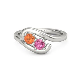14K White Gold Ring with Fire Opal and Pink Tourmaline
