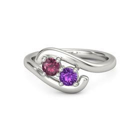 14K White Gold Ring with Rhodolite Garnet and Amethyst
