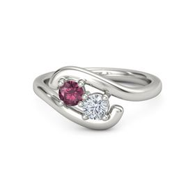 14K White Gold Ring with Rhodolite Garnet and Moissanite