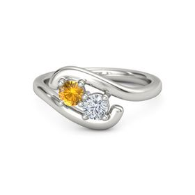 14K White Gold Ring with Citrine & Diamond