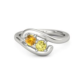 14K White Gold Ring with Citrine & Yellow Sapphire