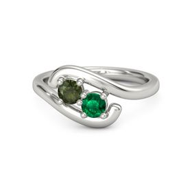 14K White Gold Ring with Green Tourmaline and Emerald