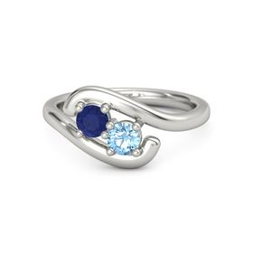 14K White Gold Ring with Sapphire & Blue Topaz